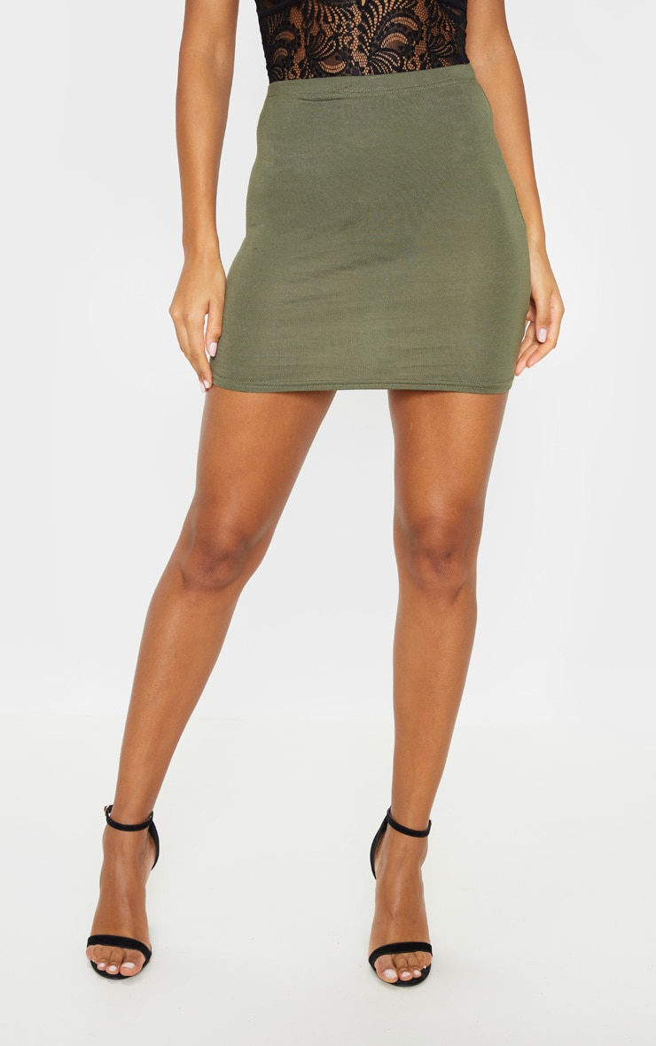 Basic Khaki Jersey Mini Skirt 2