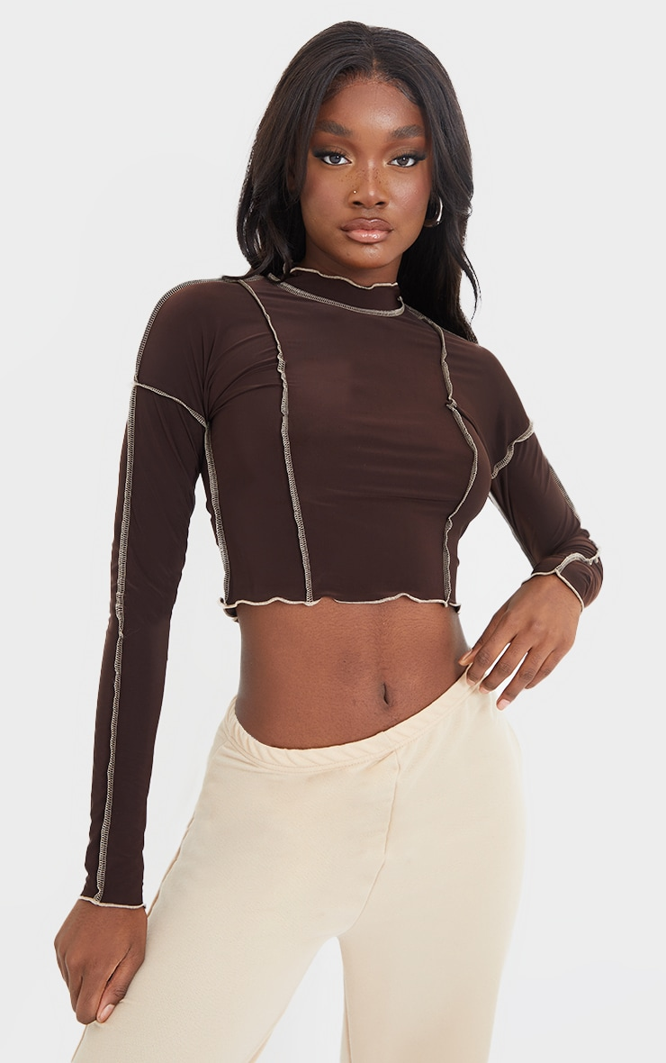 Tall Chocolate Contrast Seam Detail Soft Touch Crop Top 1