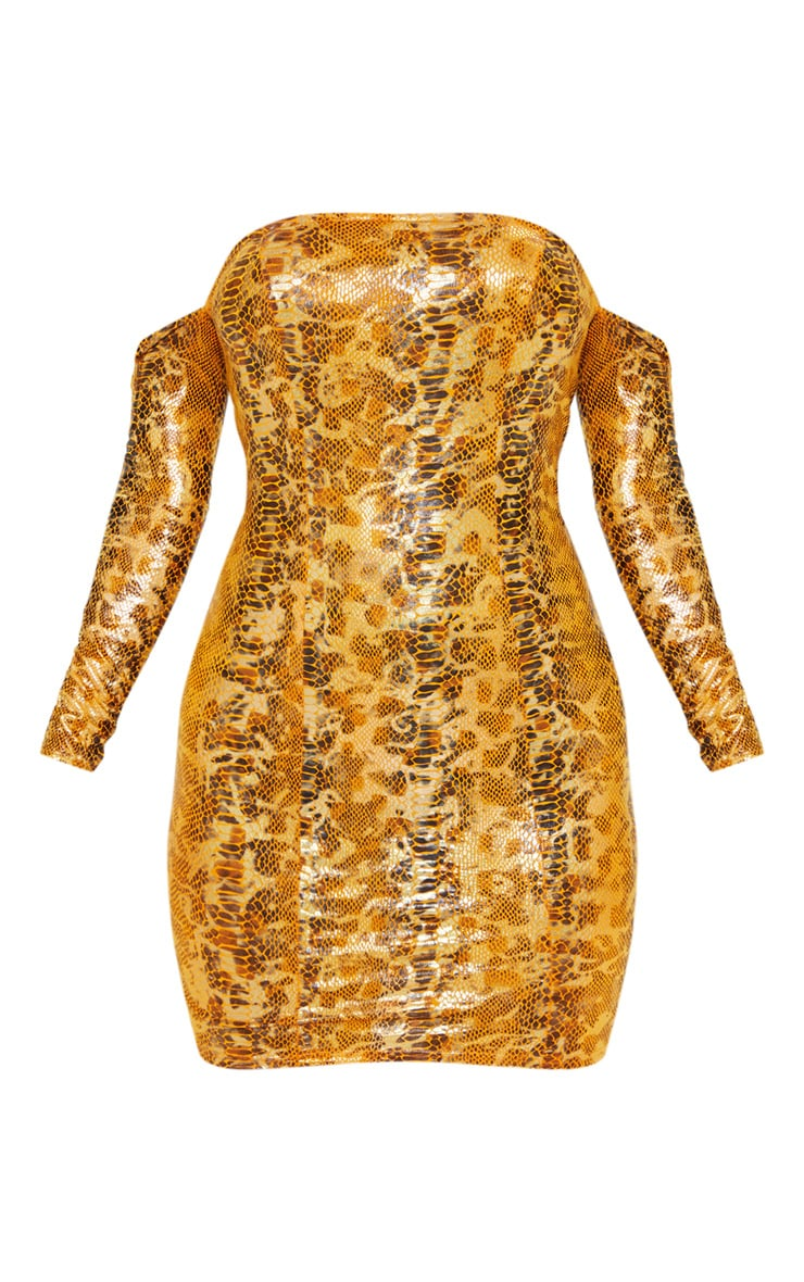 Bright Orange Metallic Snake Bardot Bodycon Dress 3