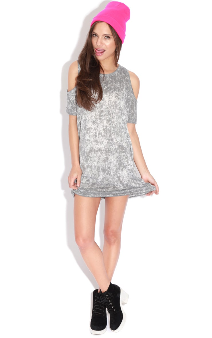 Tina Grey Tie Dye Shoulder Dress 3