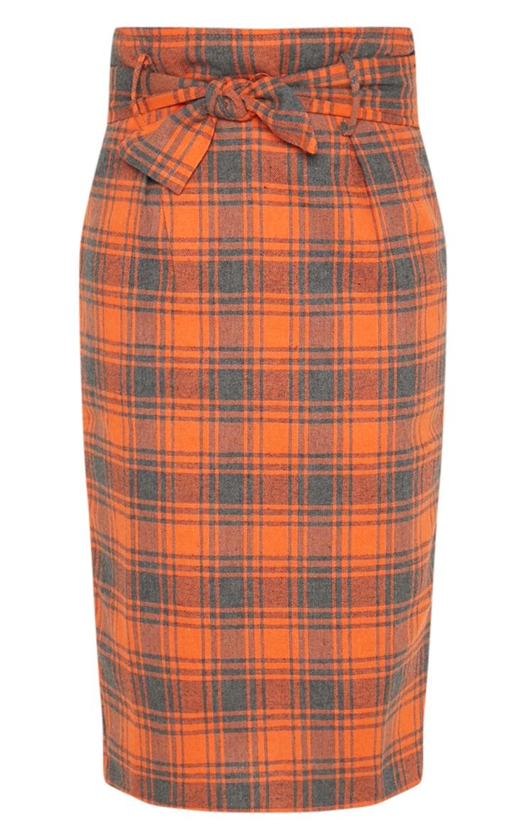 Orange Check High Waisted Midi Skirt 3