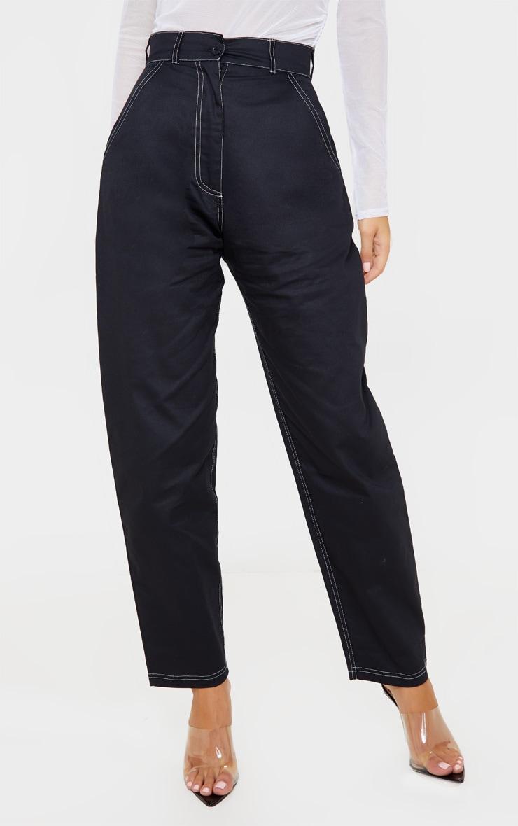 Black Contrast Stitch Cargo Trouser 2