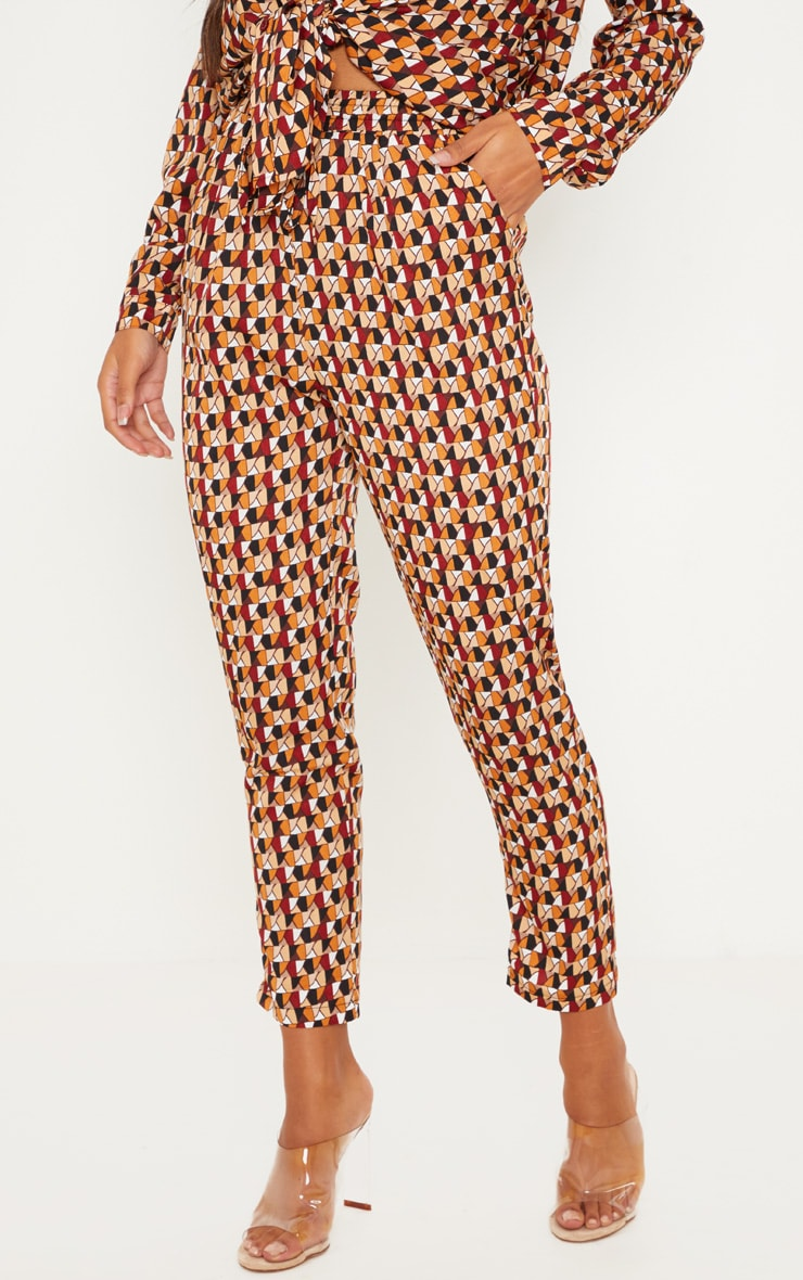 Rust Geo Print Cigarette Pants 2