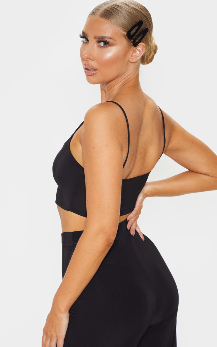 Black Slinky Strappy Detail Crop Top 2