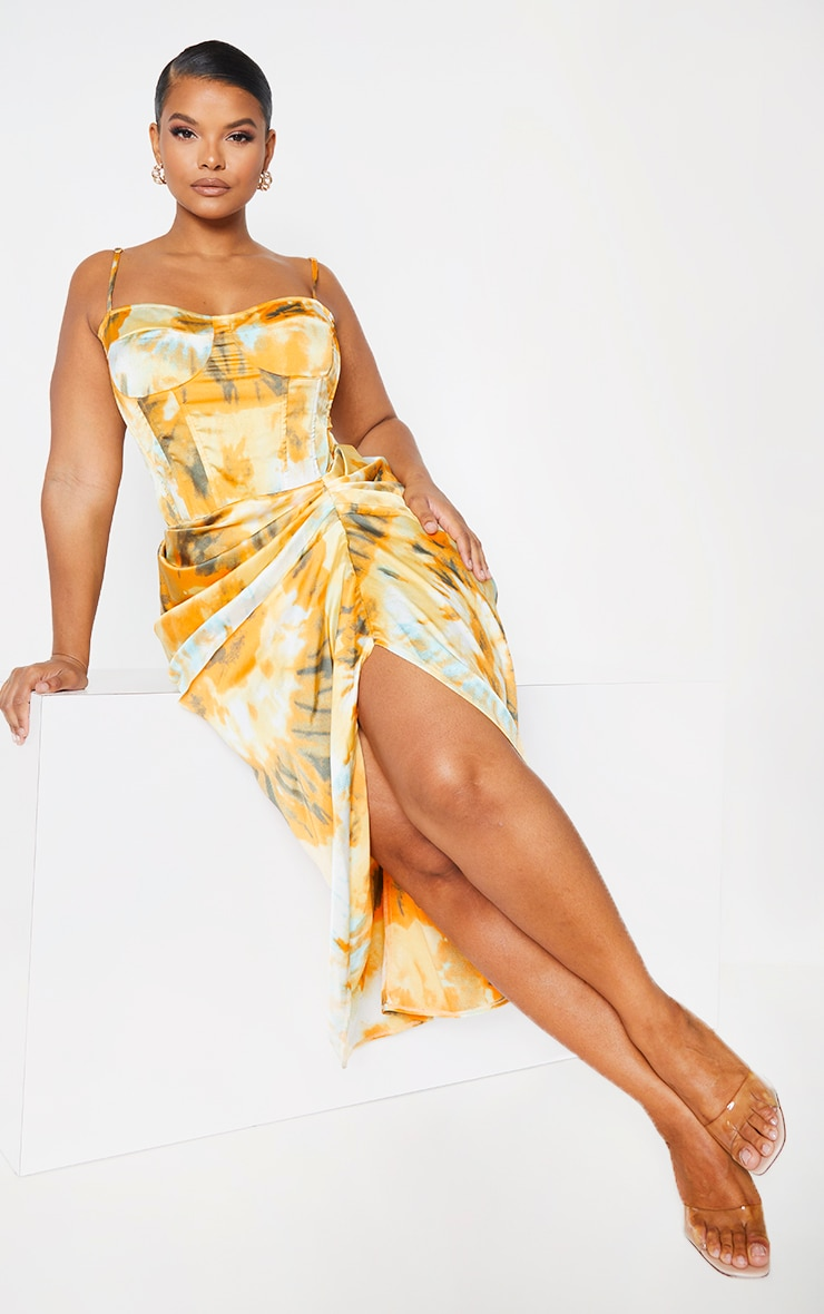 Plus Orange Tie Dye Ruched Side Midi Skirt 1