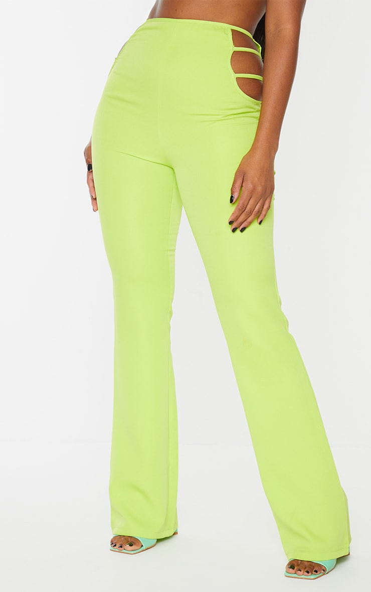 Lime Woven Cut Out Detail Skinny Flared Trousers 3