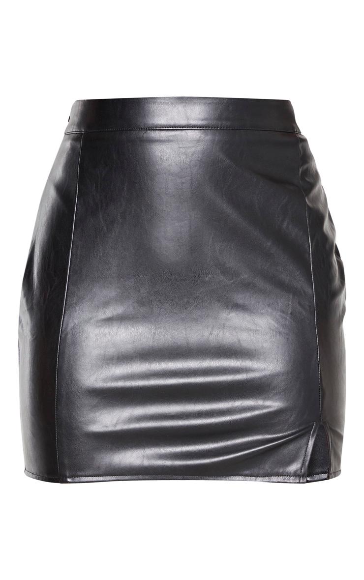 Black Faux Leather Split Mini Skirt 3
