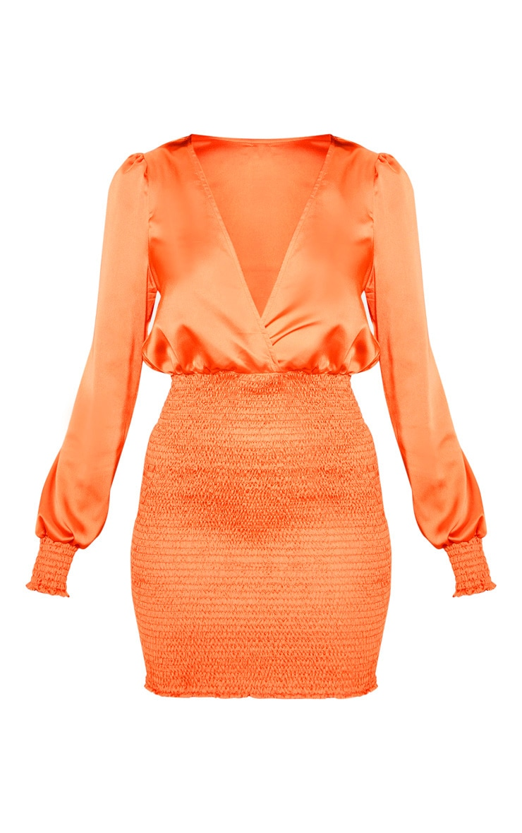 Orange Shirring Bodycon Dress 3