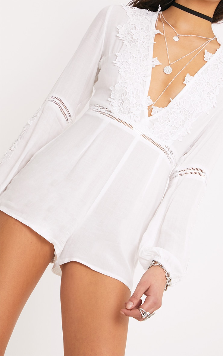 Lauren White Cheesecloth Playsuit  5