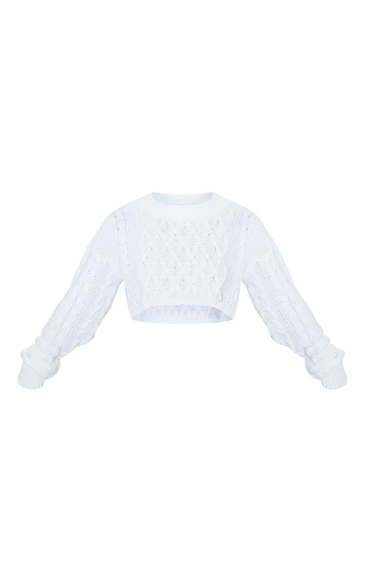 Petite Cream Chunky Knit Super Cropped Sweater 3