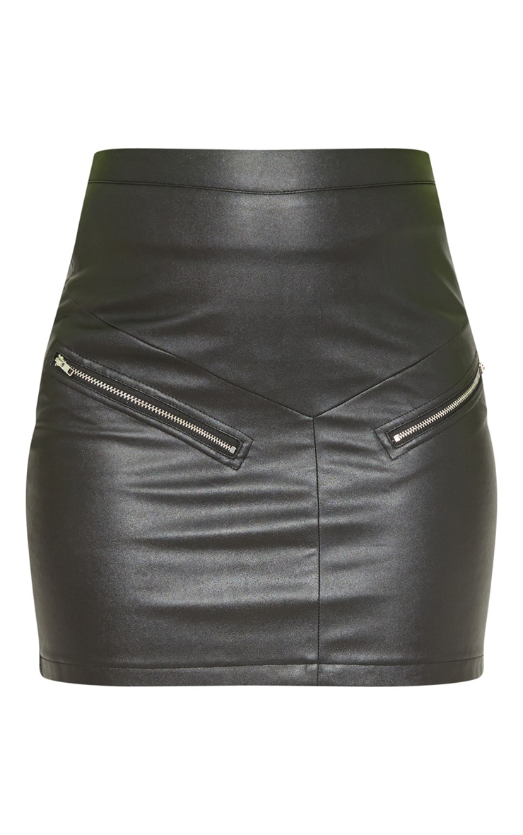 Tall Black Faux Leather Zip Detail Mini Skirt 3