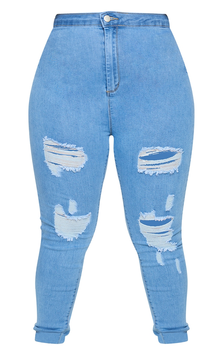 PRETTYLITTLETHING Plus Light Wash Ripped Disco Skinny Jeans 5