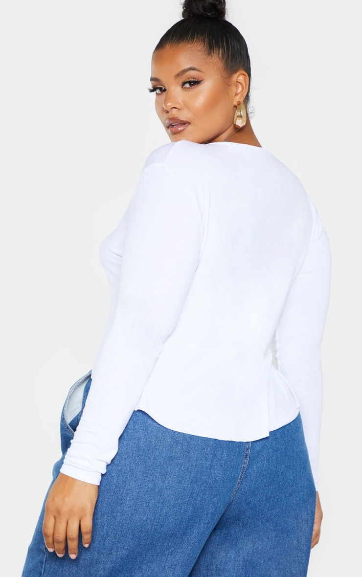 Plus White Jersey Tie Detail Frill Hem Crop Top  2