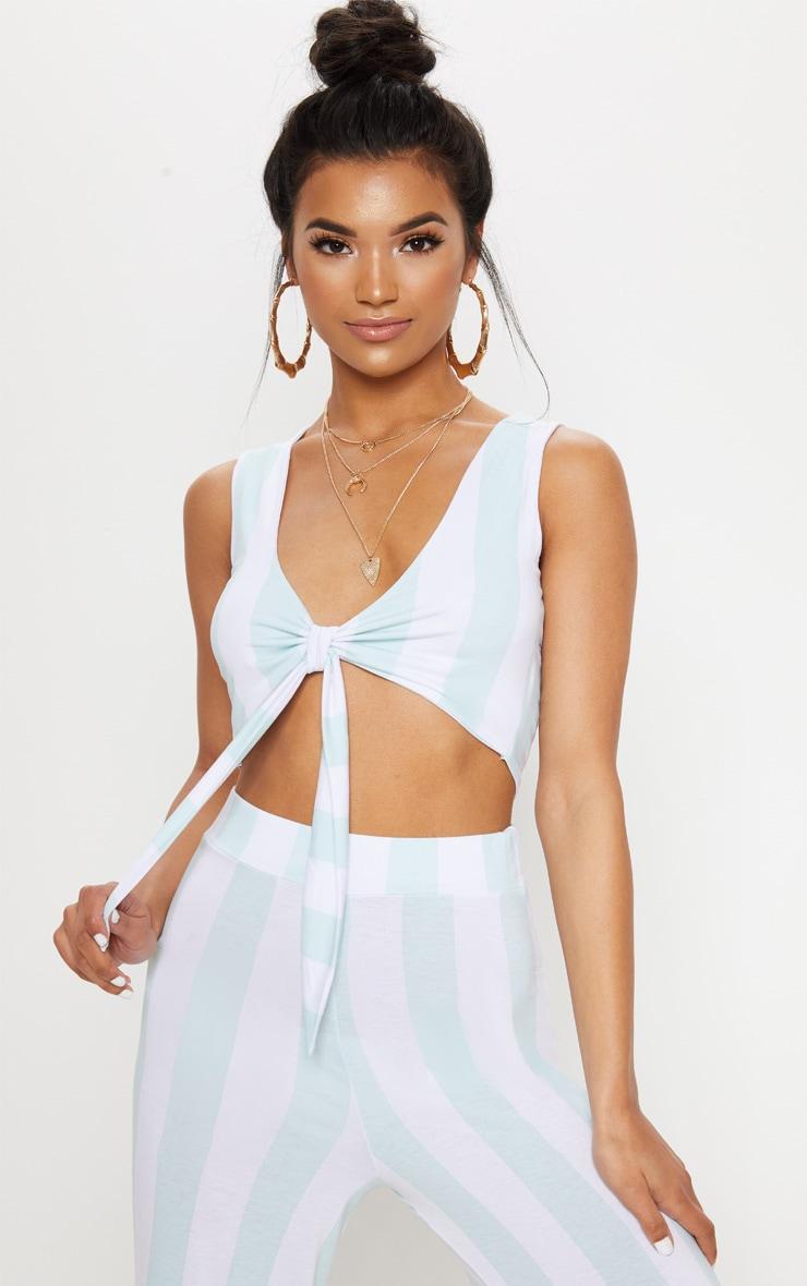 Mint Tie Front Stripe Crop Top