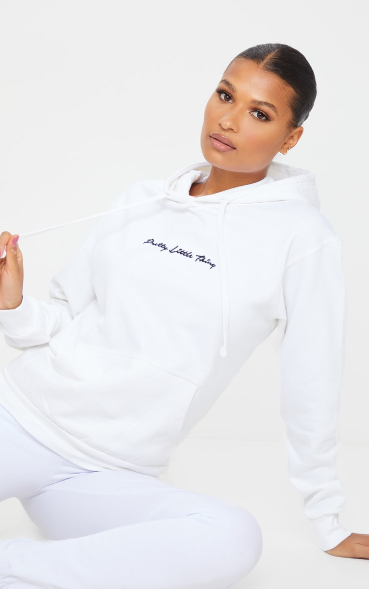 PRETTYLITTLETHING White Embroidered Oversized Hoodie 1