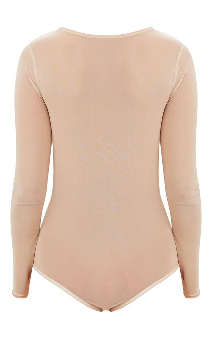 Nude Ruched Front Sheer Mesh Thong Bodysuit 4