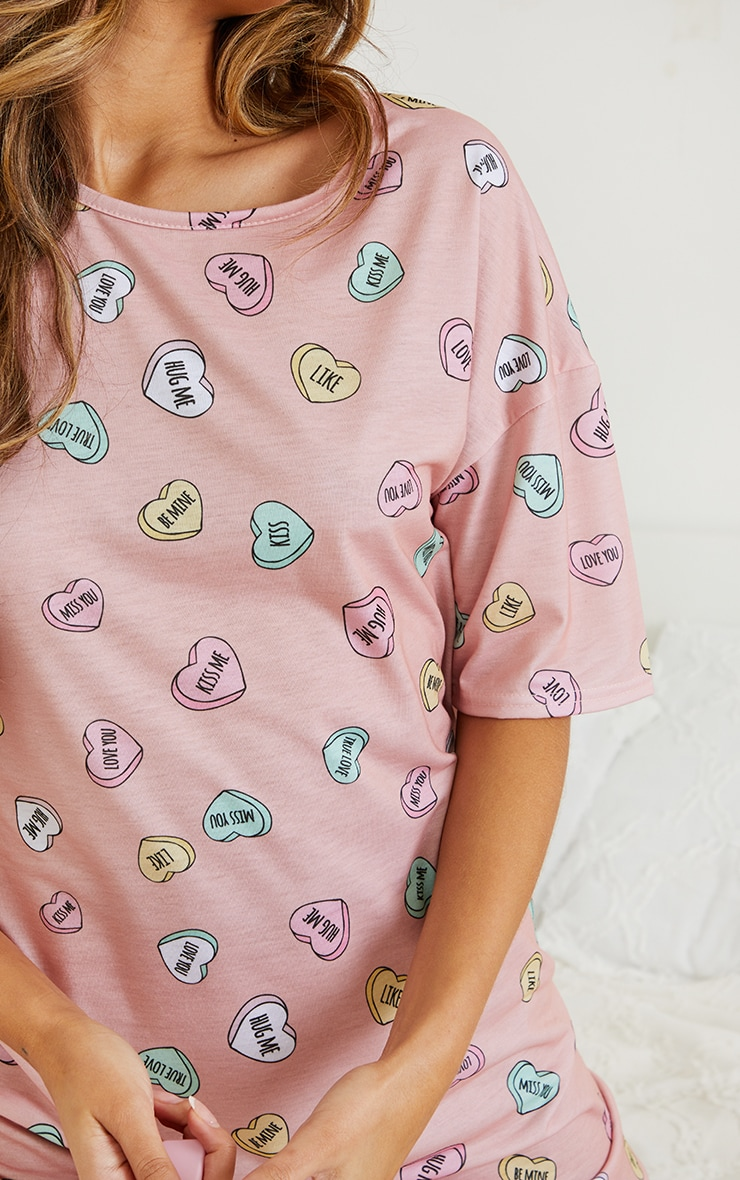 Peach Loveheart Print Oversized Nightie 4