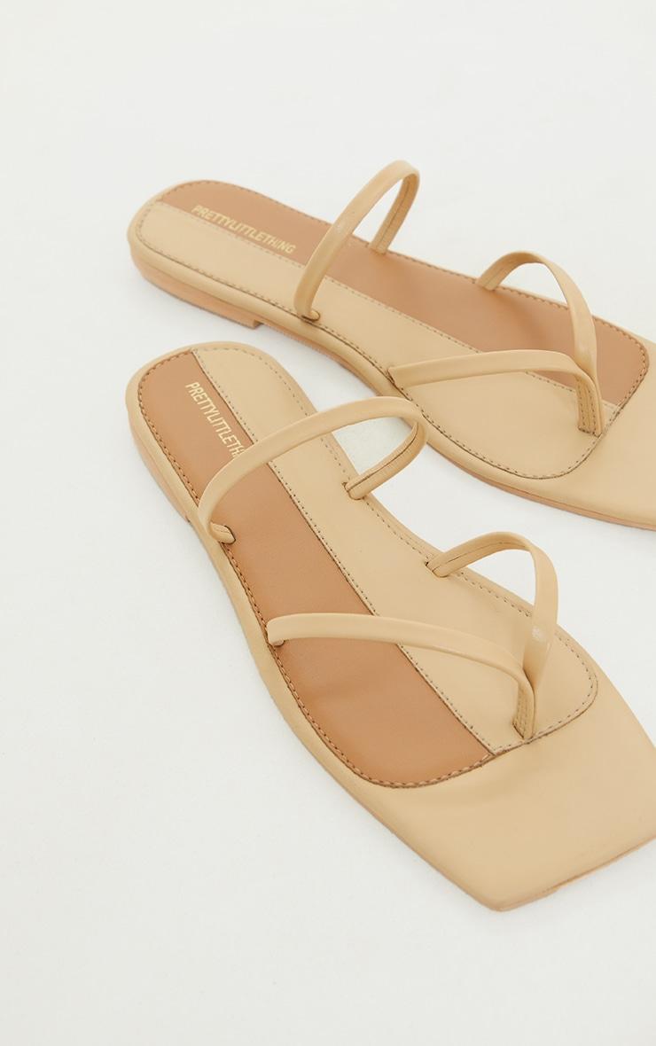 Nude Real Leather Toe Loop Slide On Square Toe Sandals 4