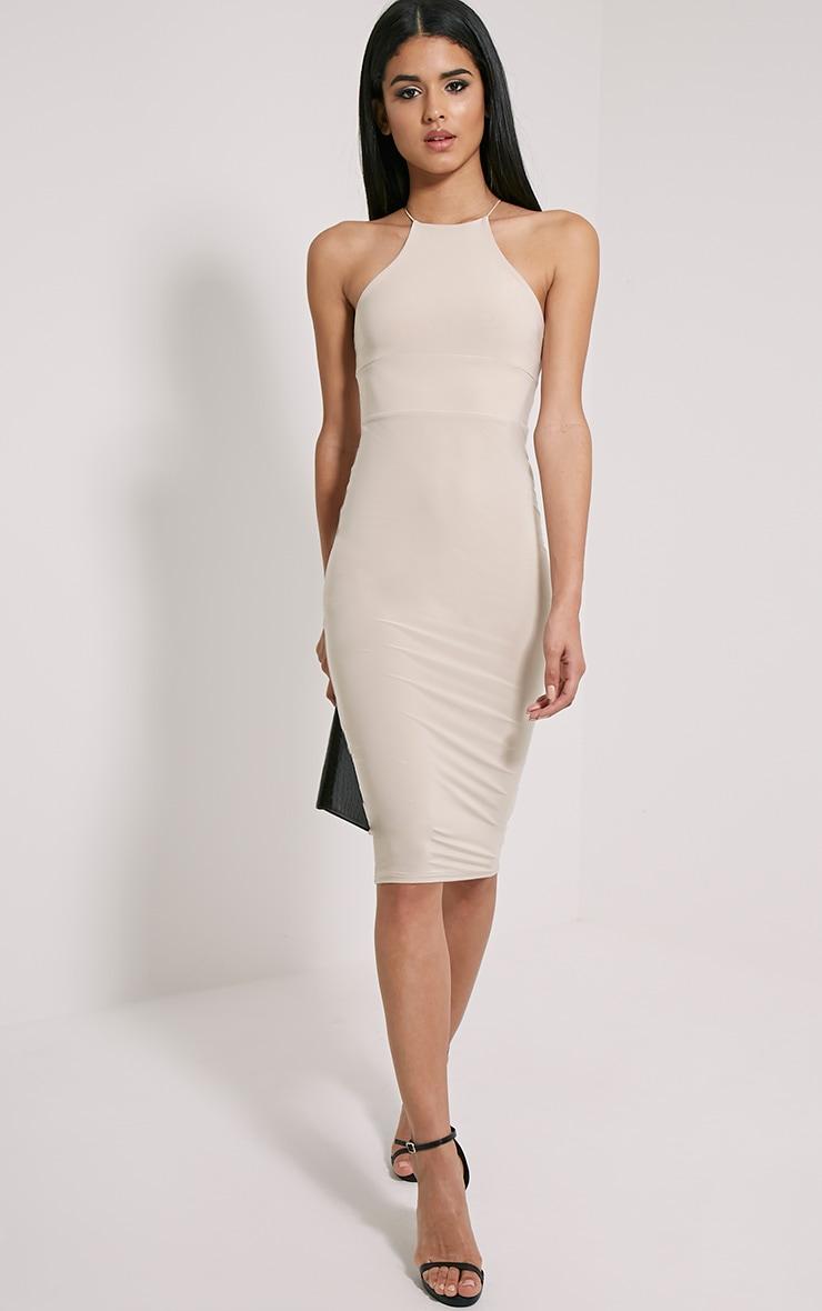 Mirabella Stone Slinky Strap Back Midi Dress 1