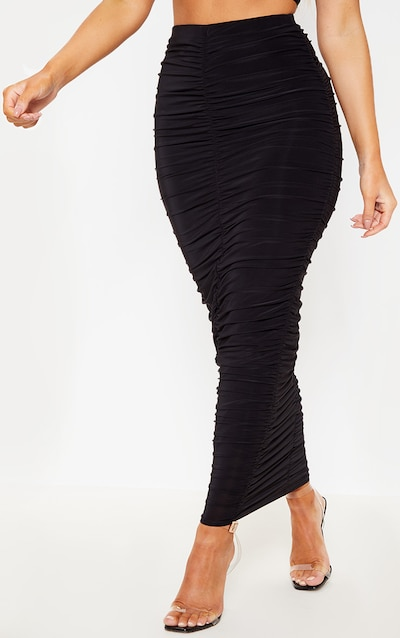 Black Slinky Ruched Detail Midaxi Skirt