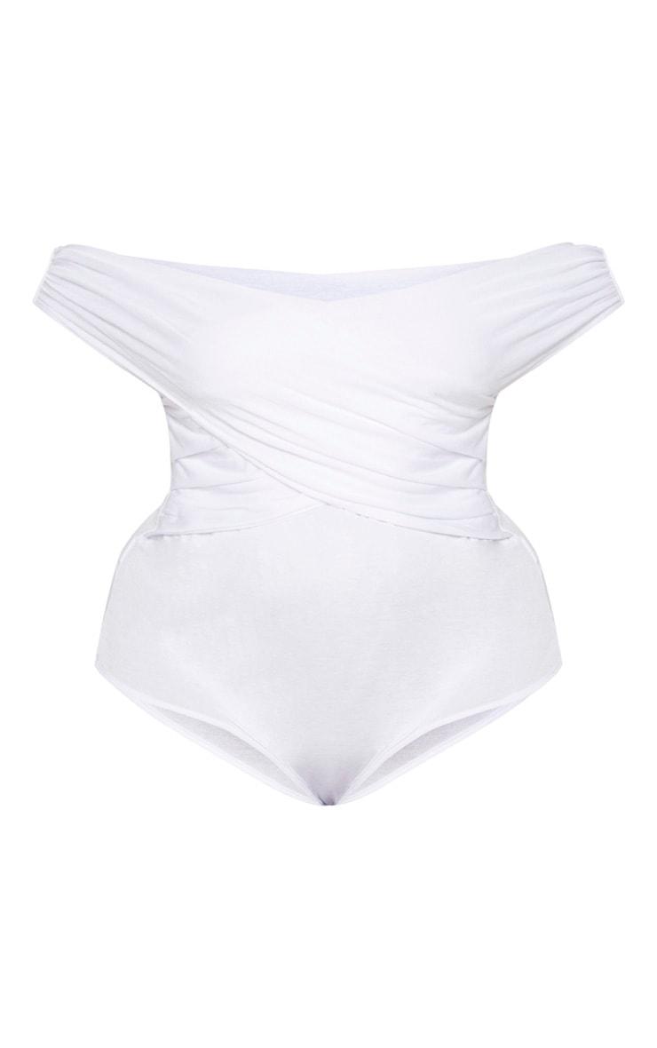 Plus White Wrap Bardot Thong Bodysuit 3