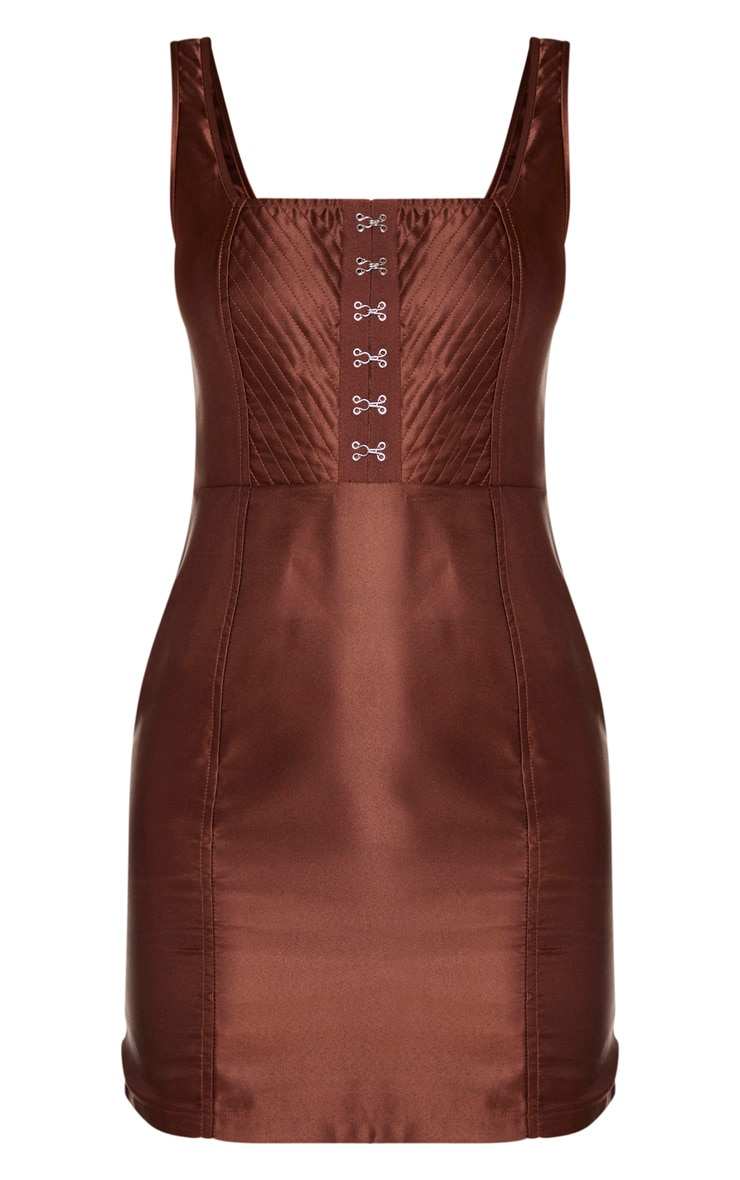 Chocolate Brown Satin Hook & Eye Bodice Sleeveless Bodycon Dress 5