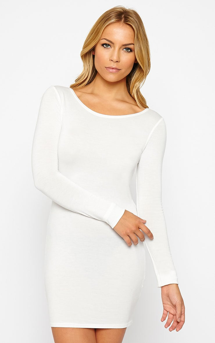 Basic Cream Long Sleeve Jersey Mini Dress 1