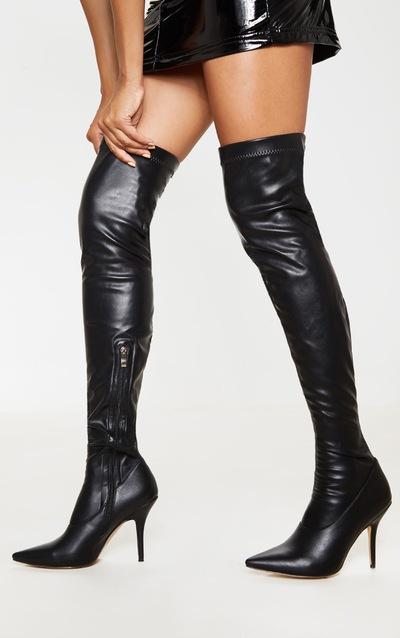 Black Thigh High PU Sock Boot