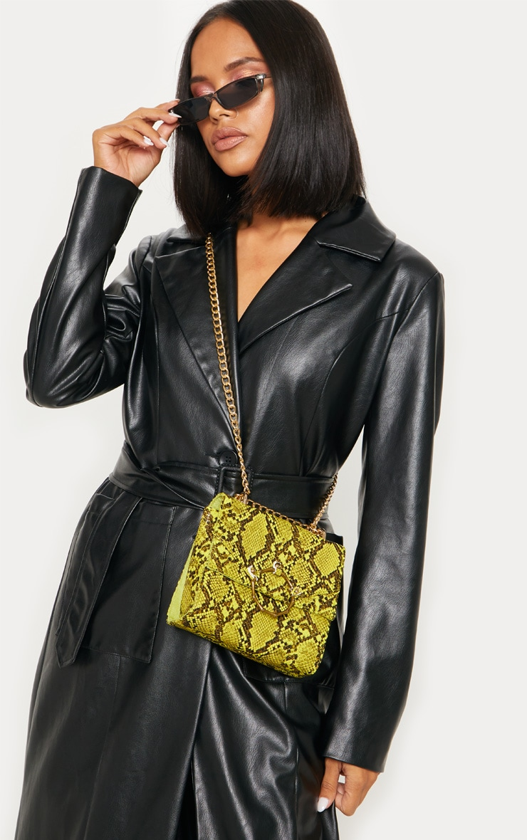 Lime Snake Bamboo Buckle Trim Chain Strap Cross Body