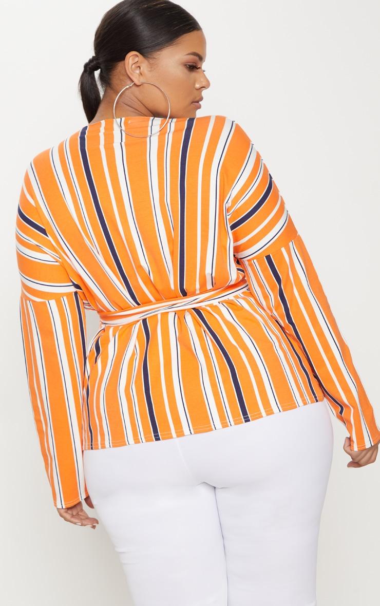 Plus Orange Striped Jersey Tie Waist Blouse 2