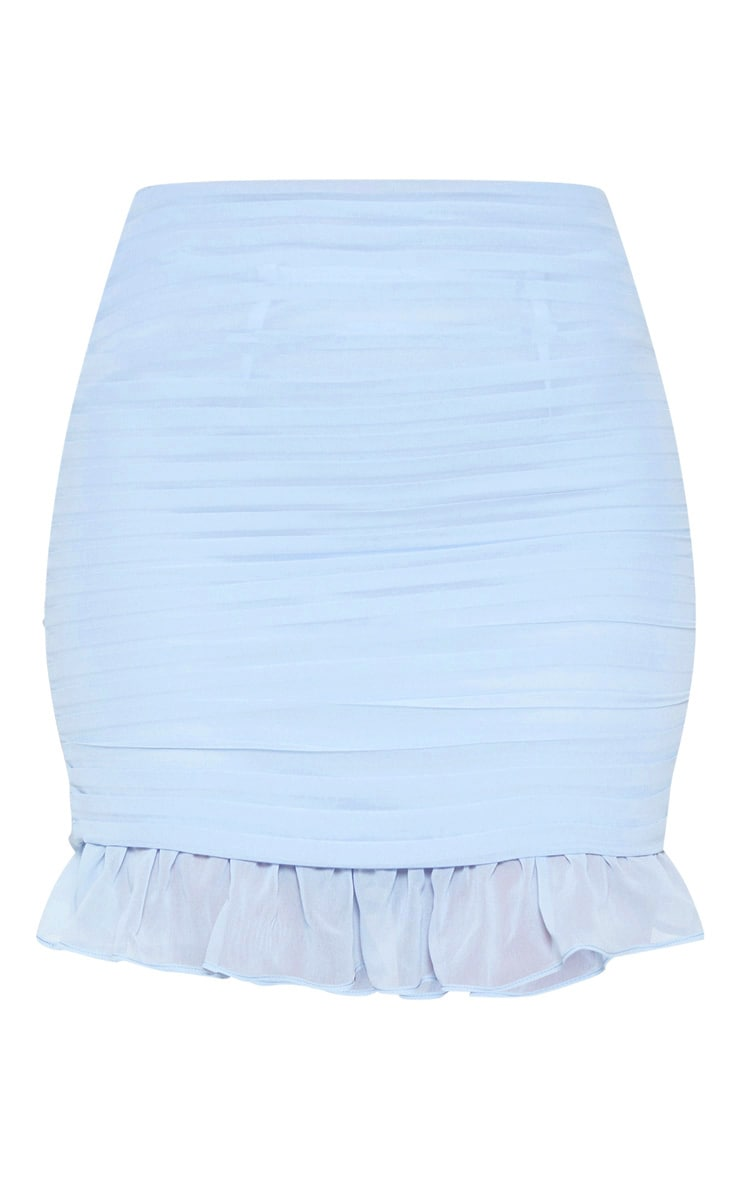 Dusty Blue Ruched Chiffon Mini Skirt 4