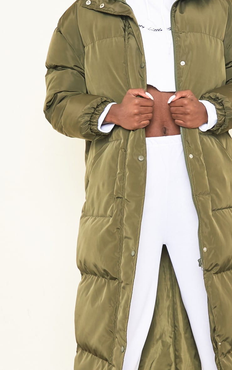 Tall Khaki Maxi Puffer Coat 4