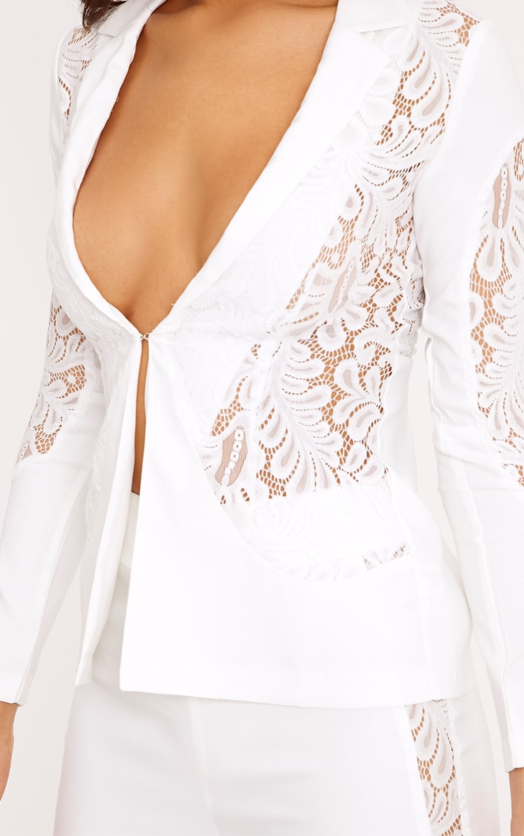 Mikaylah White Lace Insert Detail Suit Jacket 4