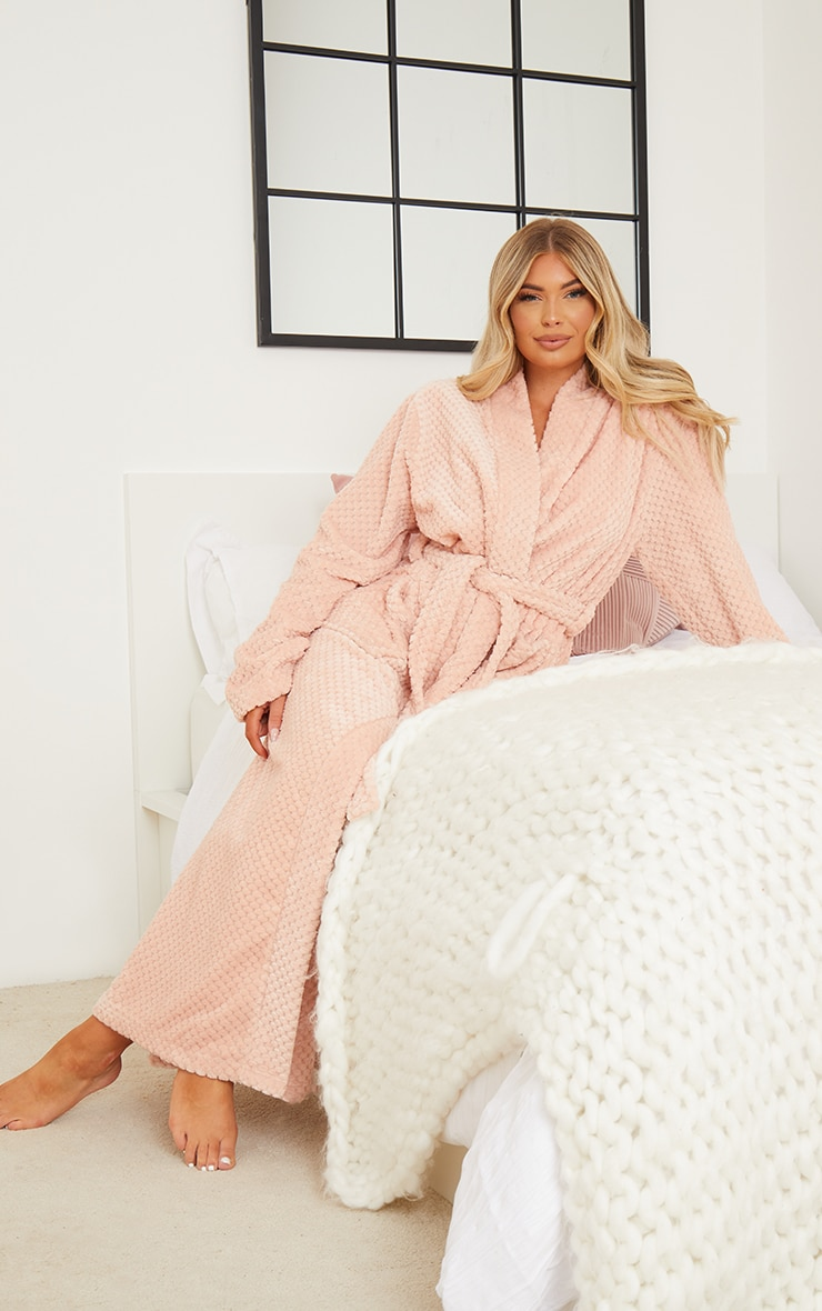 Pink Textured Fluffy Longline Dressing Gown 1