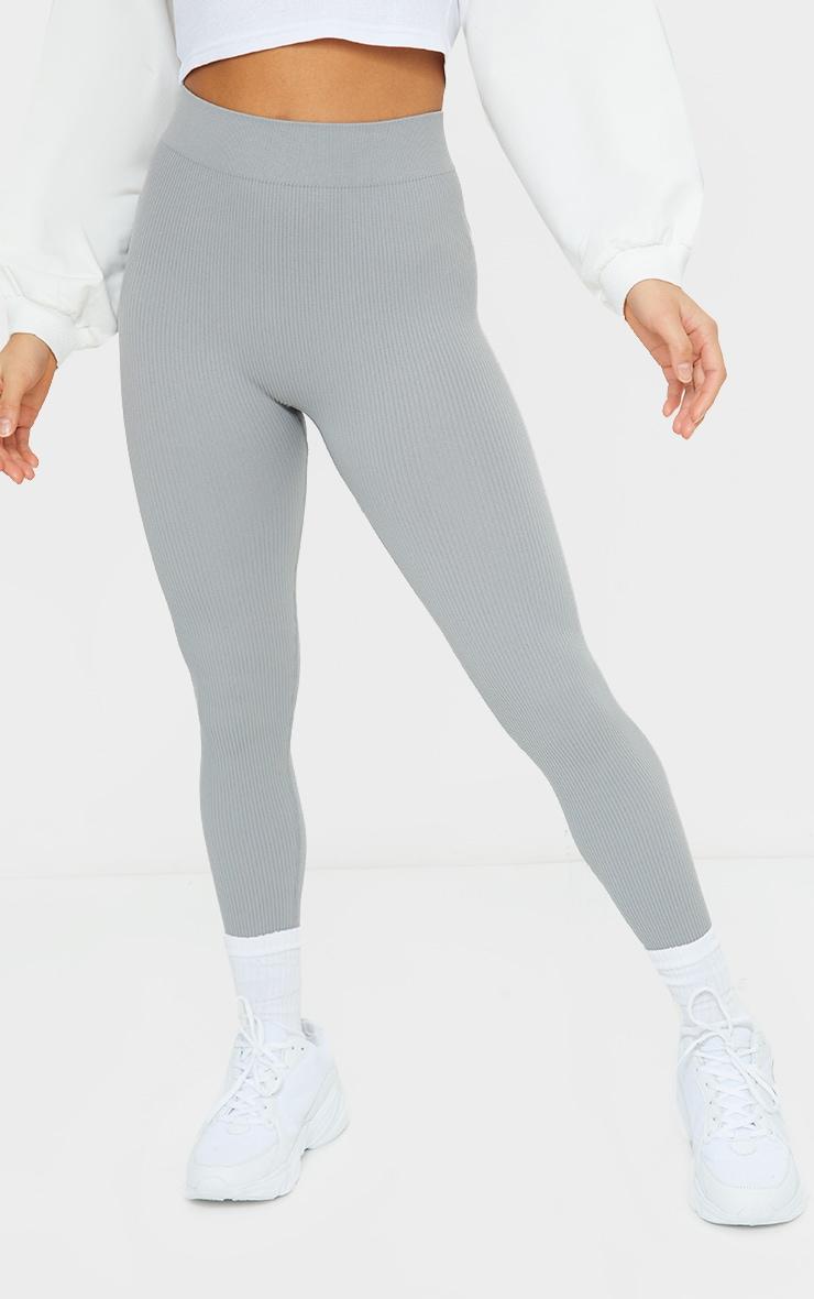 Petite Grey Structured Contour Rib Leggings 2