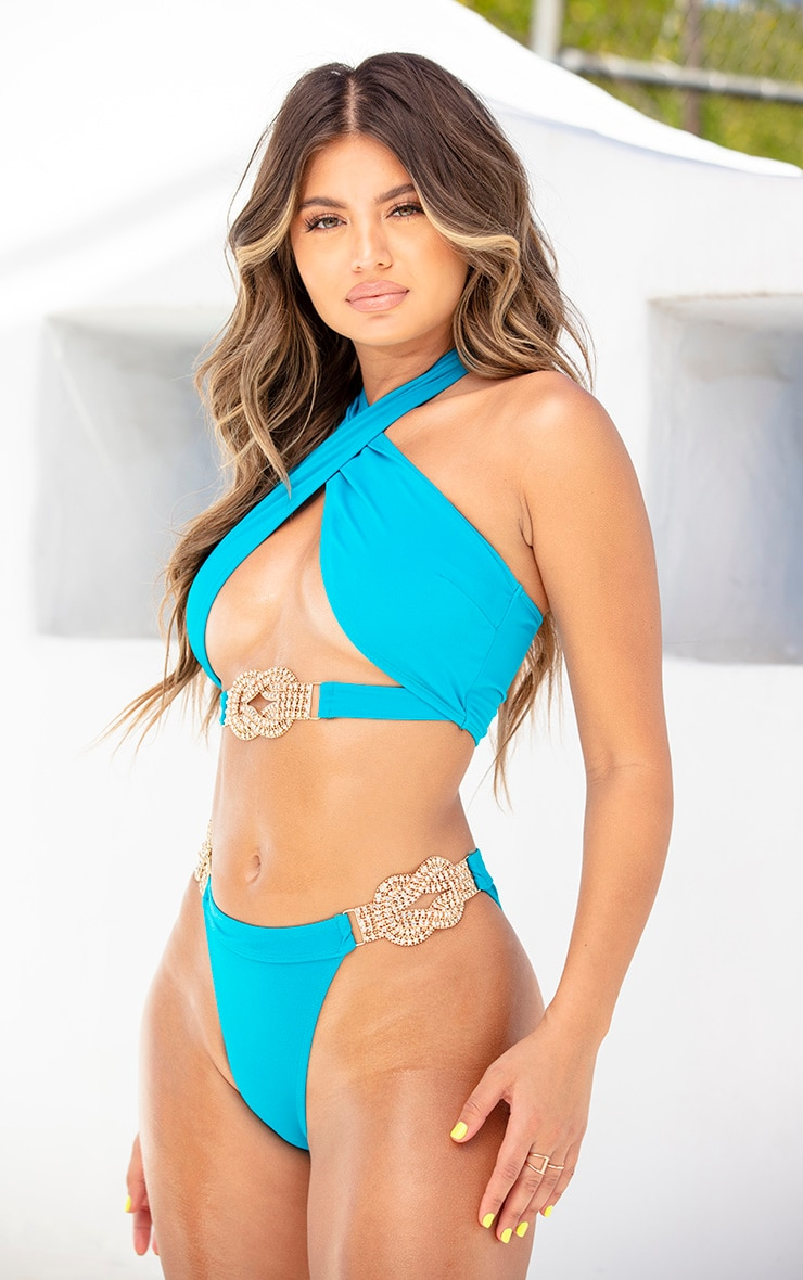 Teal Diamante Jewel Bikini Bottom 2