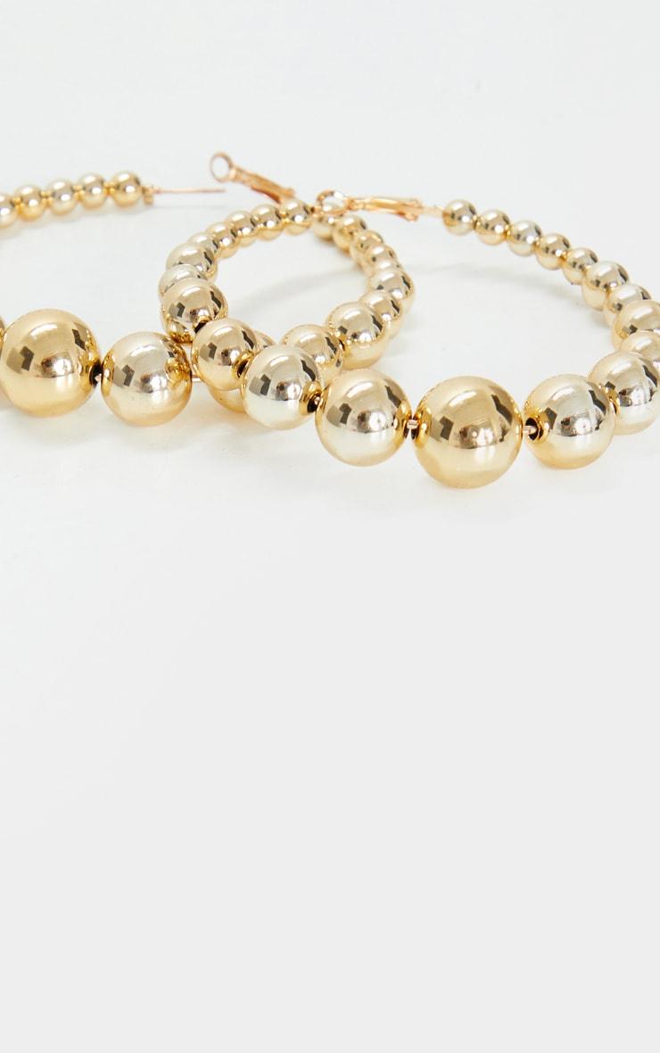 Gold Beaded Medium Hoop Earrings 3