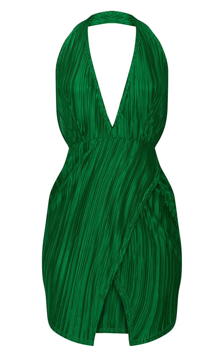 Bright Green Halterneck Extreme Split Detail Pleated Bodycon Dress 3