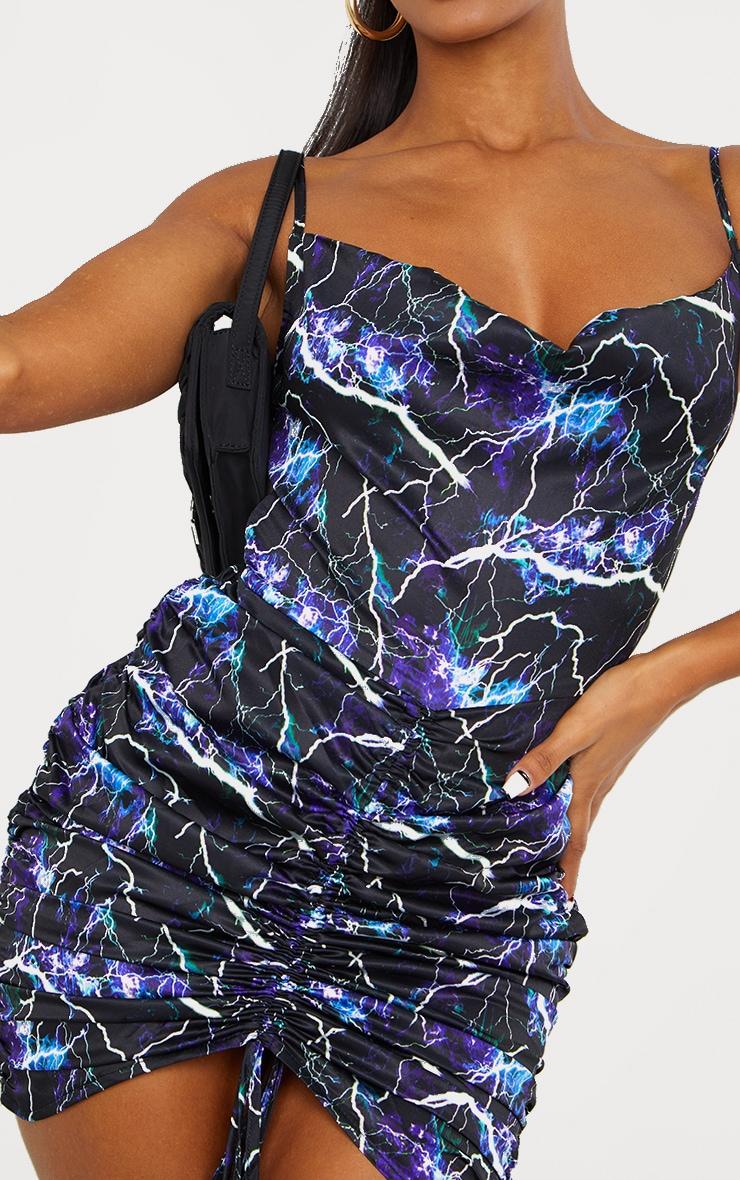 Blue Lightning Satin Ruched Skirt Cowl Neck Bodycon Dress 4