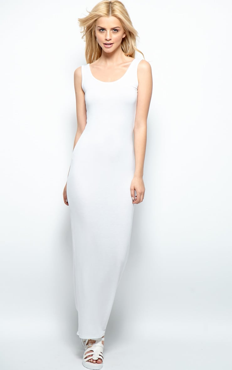 Zoe White Jersey Scoop Neck Maxi Dress 3
