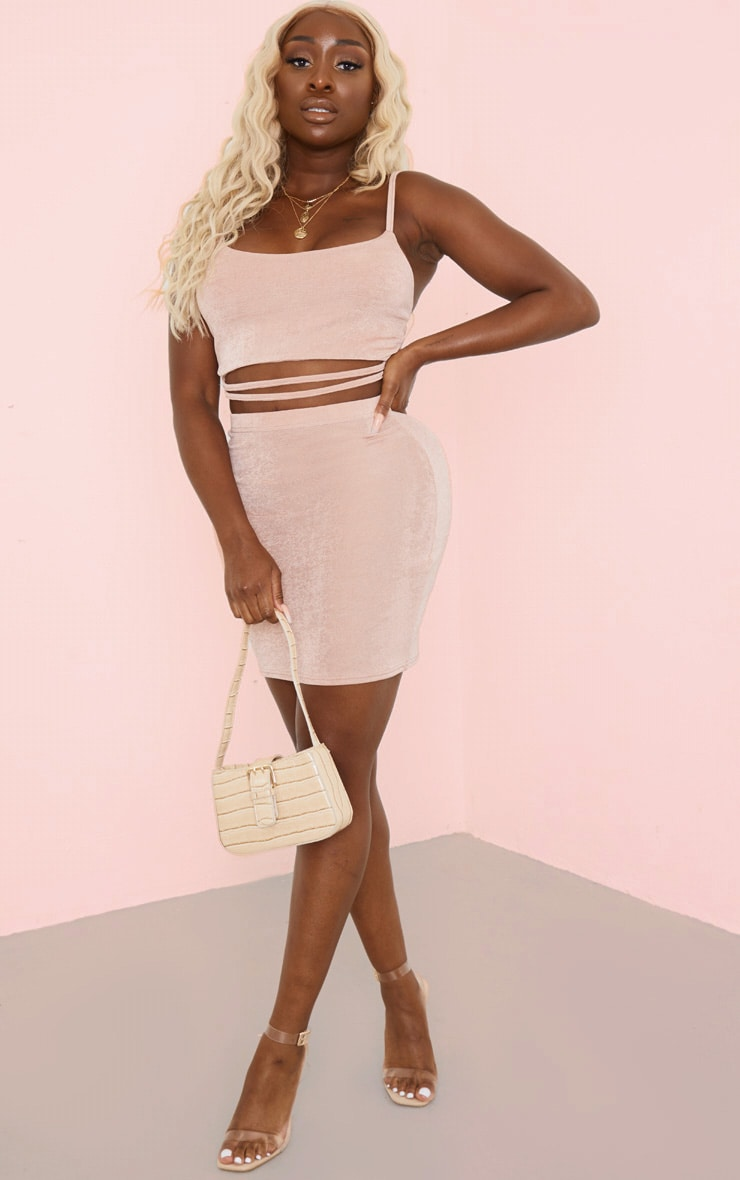 Dusty Rose Acetate Cut Out Top And Mini Skirt Set 1