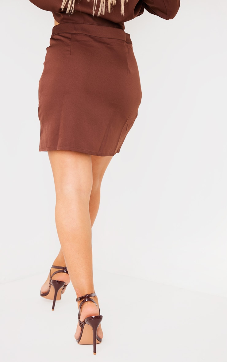 Chocolate Brown Woven Button Front Mini Suit Skirt 3