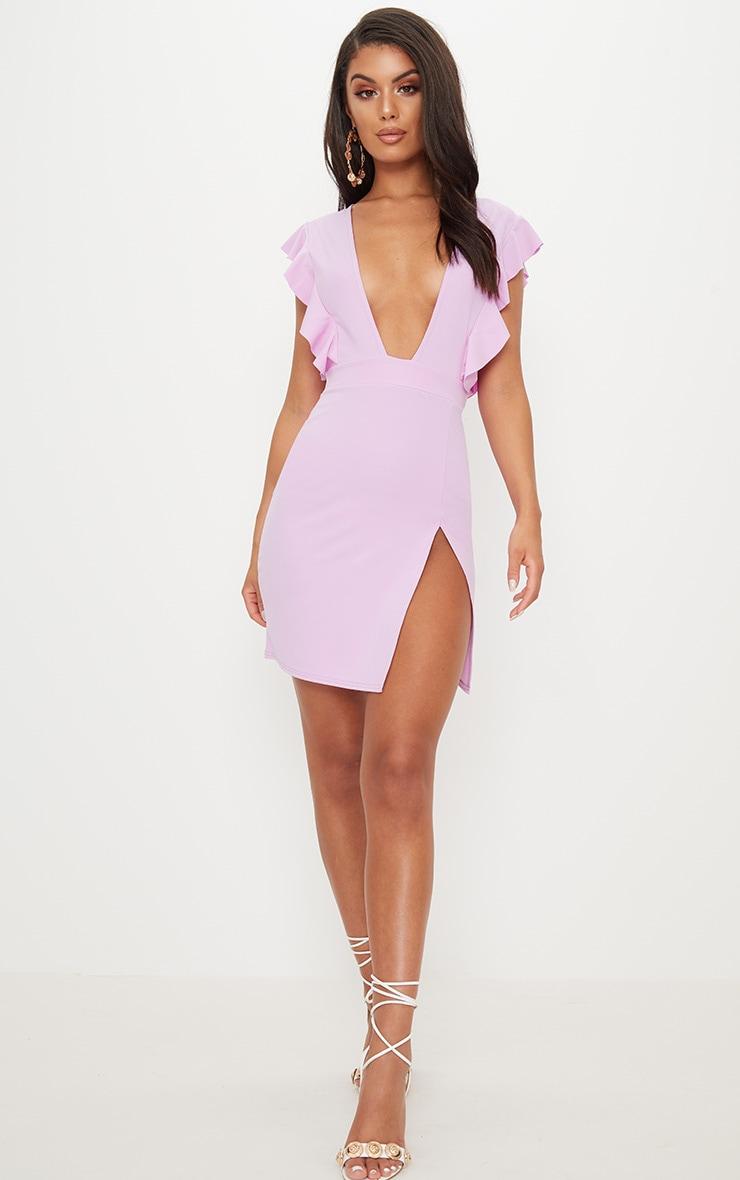 Lilac Frill Plunge Split Leg Bodycon Dress 4