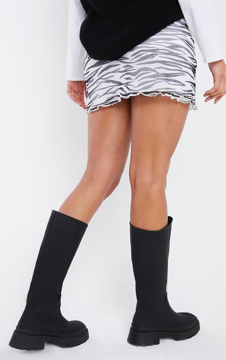 Black Zebra Print Mesh Lettuce Hem Mini Skirt 3