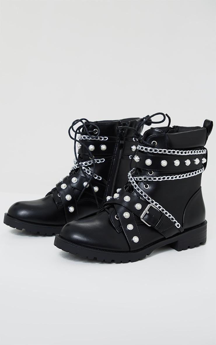 Black Studded Chain Trim Lace Up Biker Boots 3
