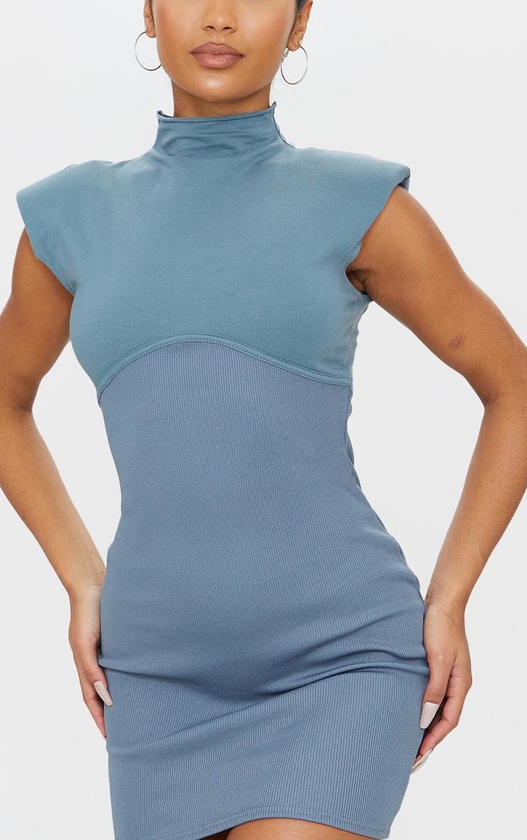 Charcoal Blue Shoulder Pad Underbust Binding Sleeveless Bodycon Dress 4