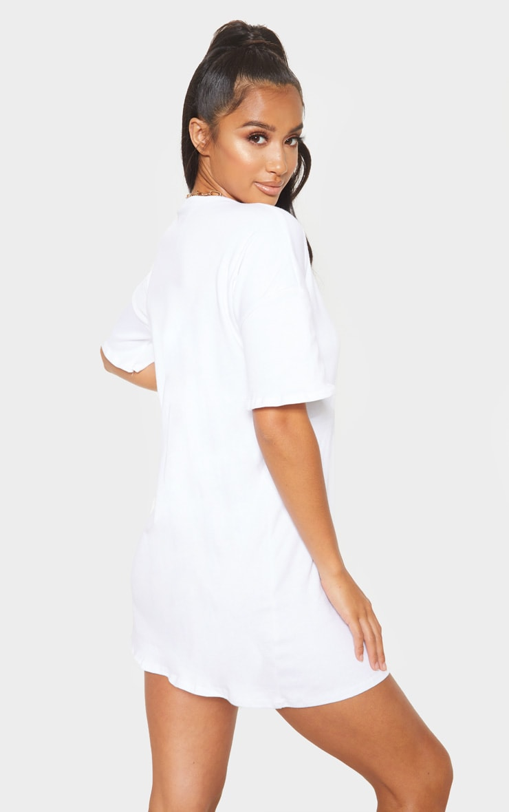 Petite White Oversized T Shirt Dress 2
