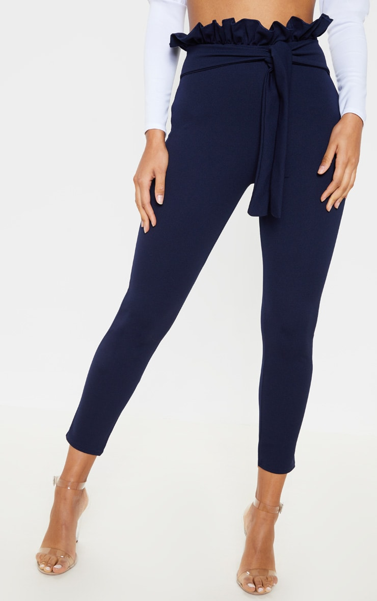 Navy Paperbag Skinny Pants 2