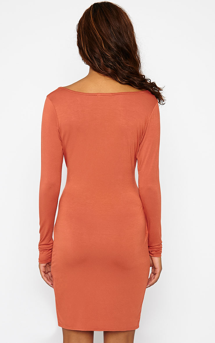 Kendi Rust Wrap Mini Dress 2