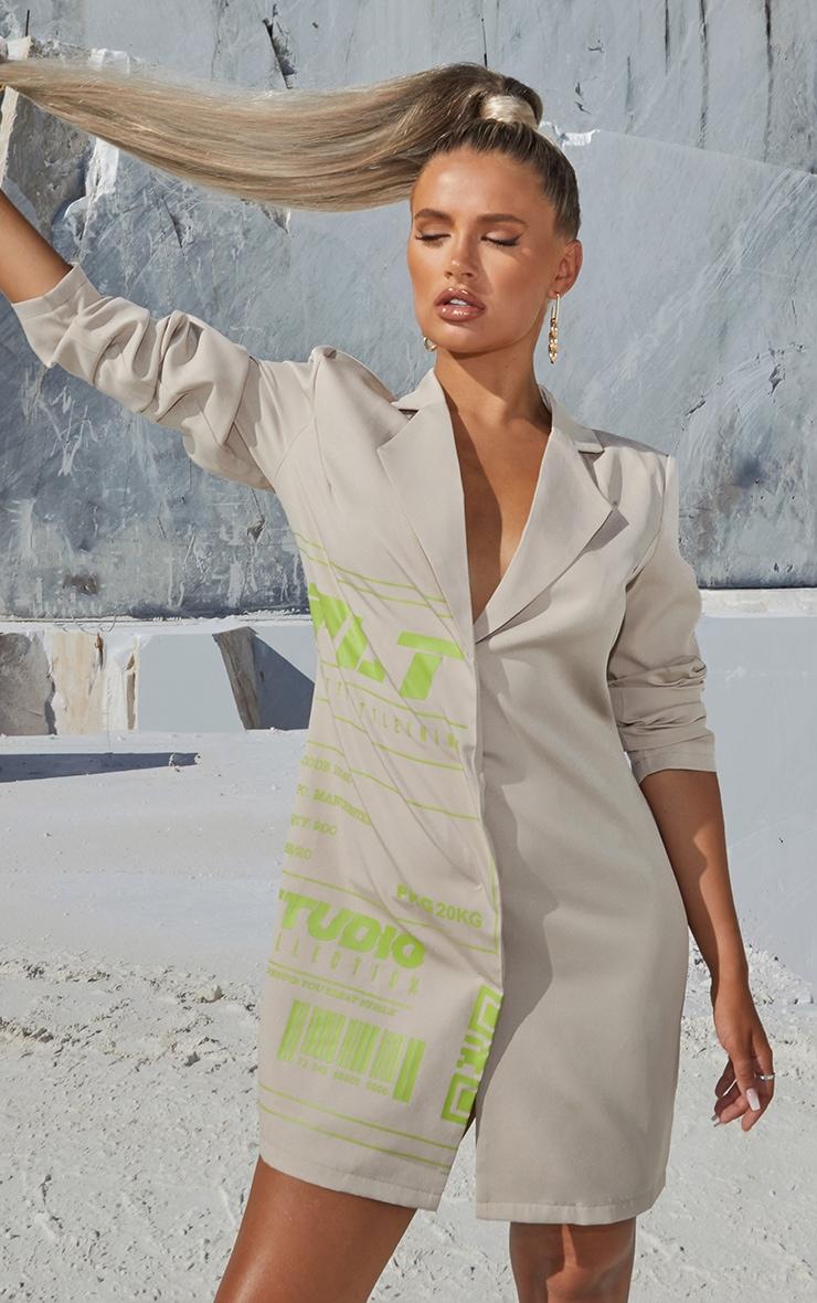 PRETTYLITTLETHING Stone Slogan Blazer Dress 1